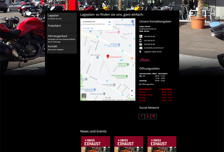 Indian Motorcycles Webseite Desktop Design Lageplan