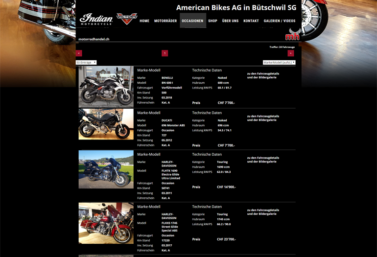 Indian Motorcycles Webseite Desktop Design Occasionen