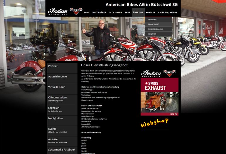Indian Motorcycles Webseite Desktop Design Werkstatt