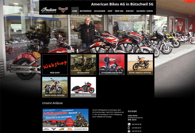 Indian Motorcycles Webseite Desktop Design