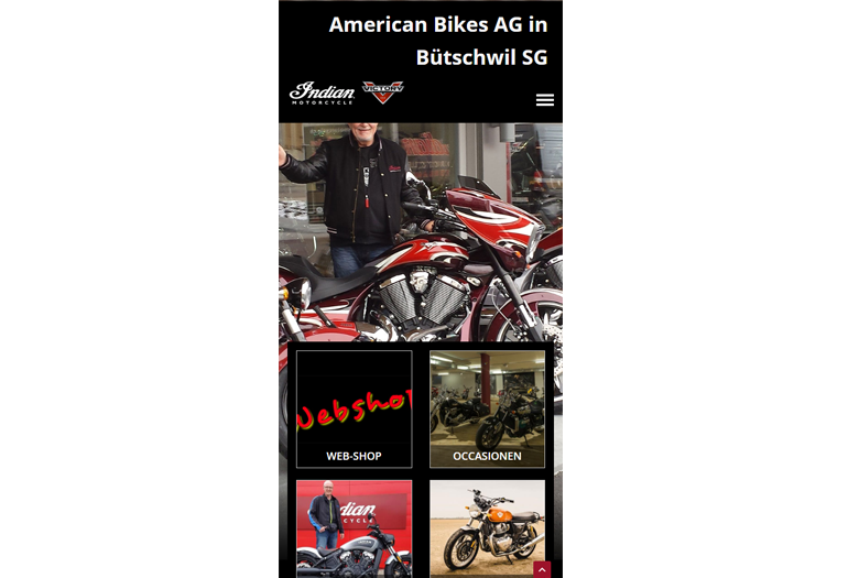 Indian Motorcycles Webseite Mobile/SmartPhone Design