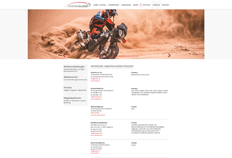 Moto Suisse Webseite Desktop Design Verband