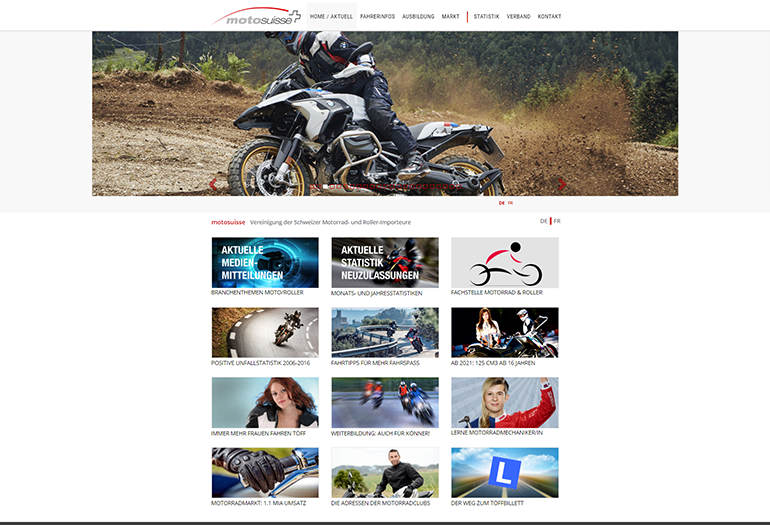 Moto Suisse Webseite Desktop Design