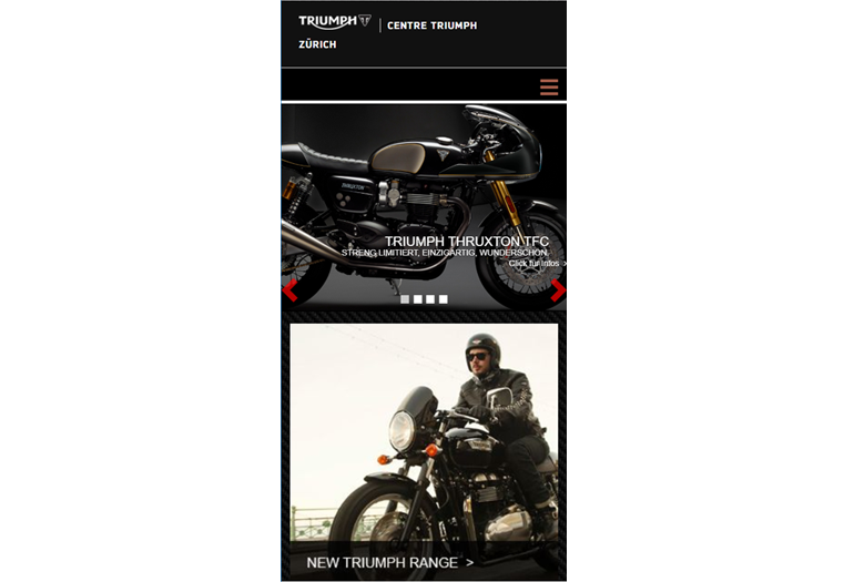 Triumph Motorcycles Webseite Mobile/SmartPhone Design