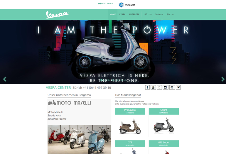 Vespa Roller Webseite Desktop Design